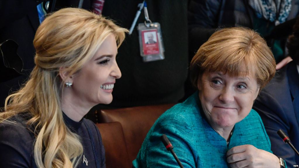 epa05854631 German Chancellor Angela Merkel (R) and daughter of US President Donald J. Trump, Ivanka Trump (L) attend a joint discussion with business representatives at the White House in Washington, DC, USA, 17 March 2017. Merkel's original visit on 14 March had to be postponed due to bad weather.  EPA/CLEMENS BILAN